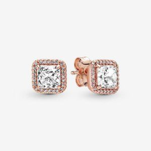 PANDORA Square Sparkle Halo Stud Earrings